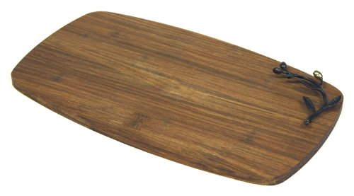 Simply Bamboo Brown Large Kona Berries Artisan Crafted Carbonized Bamboo Cheese Board Serving Tray - 165