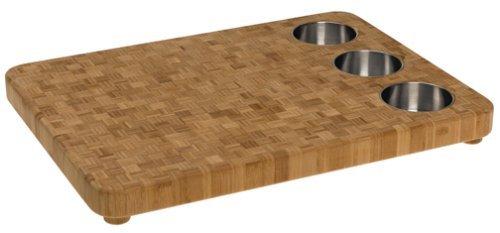 Totally Bamboo 3-Bowl Butcher Block Prep Board 100 Organic Premium Bamboo - Chopping Cutting Serving The Perfect Gift 165 x 22
