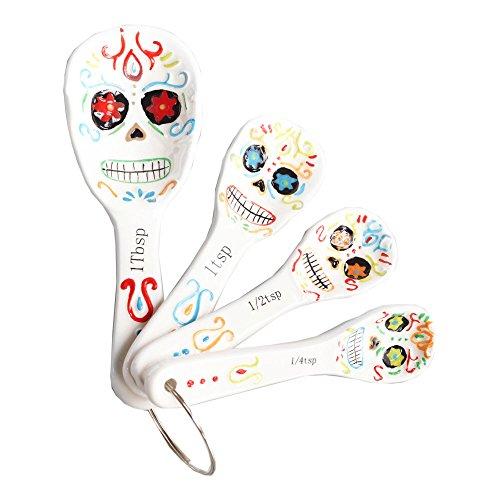 Day of the Dead Los Muertos Ceramic Measuring Spoons - White