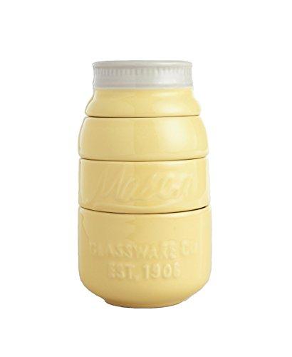 Yellow Ceramic Mason Jar Measuring Cups