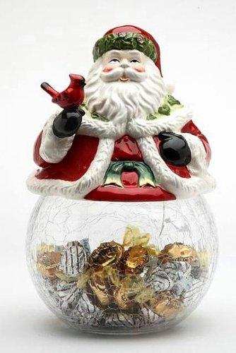 Cosmos Gifts 10560 Santa Cardinal CookieCandy Jar with Ceramic Jar 9-Inch
