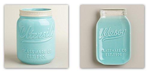 Mason Jar Ceramic Set Aquablue Utensil Crock and Spoon Rest