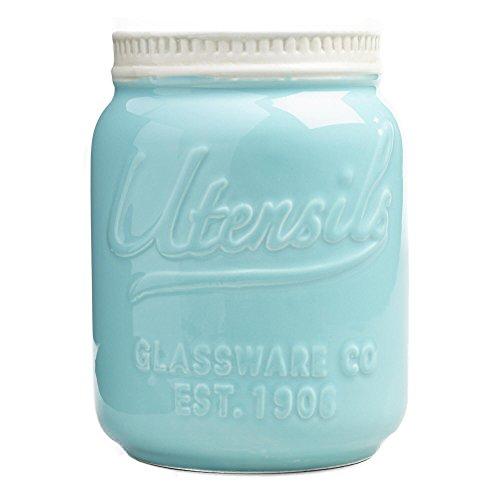 Mason Jar Ceramic Utensil Crock AquaBlue by World Market