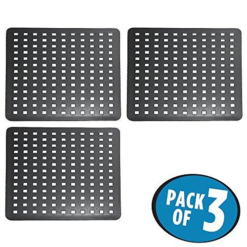 mDesign Kitchen Sink Protector Mat Regular - Pack of 3 Black
