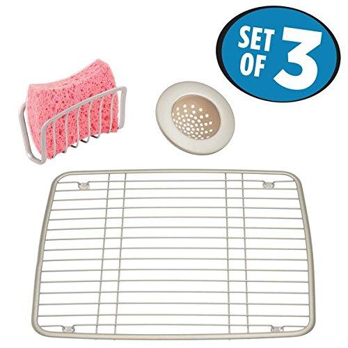mDesign Kitchen Sink Accessory Set Sink Grid Sink Strainer Sponge Cradle- Set of 3 Satin
