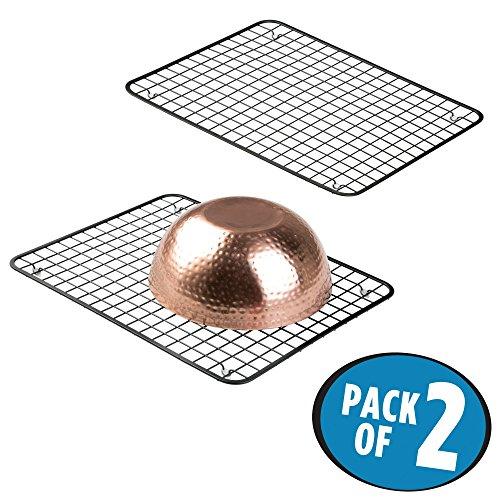 mDesign Kitchen Sink Protector Dish Grid - Pack of 2 Matte Black