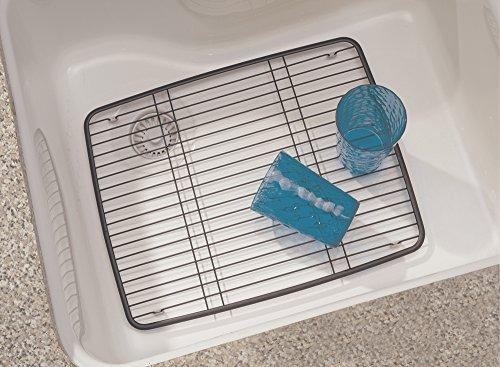 mDesign Kitchen Sink Protector Grid - Large Matte Black