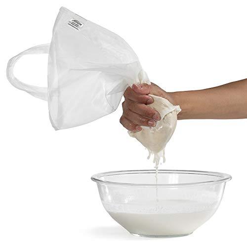 TENRAI Nut Milk Bag,Multiple Usage Reusable Food Strainer - Fine Mesh Nylon Almond Milk Bags - BeerYogurt FilterCheese Cloth 7x13 200 Micron, Handle