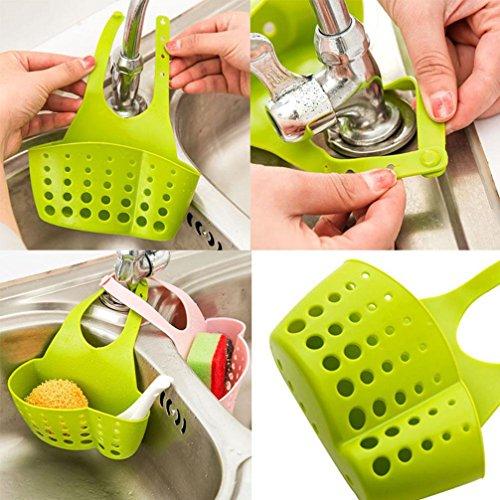 Kitchen StrainerSaingace 1pc Adjustable Hanging Drain Bag Basket Bath Storage Gadget Tools Sink Holder For Kitchen Green