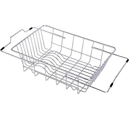 YOMYM Adjustable Over Sink Dish Drying Kitchen Rack Dish Holder Utensil Drainer Rack Stainless Steel 18-8