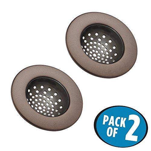 mDesign Kitchen Sink Drain Strainer - Pack of 2 Bronze