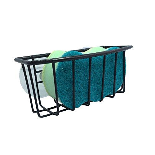 Durable Steel Construction Color Coated Large Suction Cups Kitchen Sink Sponge Storage Organizer Holder Black