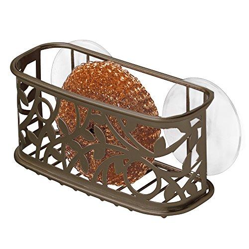 InterDesign Vine Kitchen Sink Suction Holder for Sponges Scrubbers Soap - Bronze