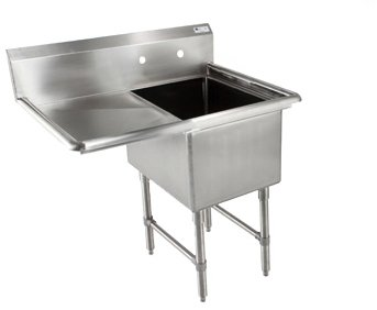 John Boos B Series Stainless Steel Sink 14 Deep Bowl 1 Compartment 24 Left Hand Side Drainboard 52 Length x 29-12 Width