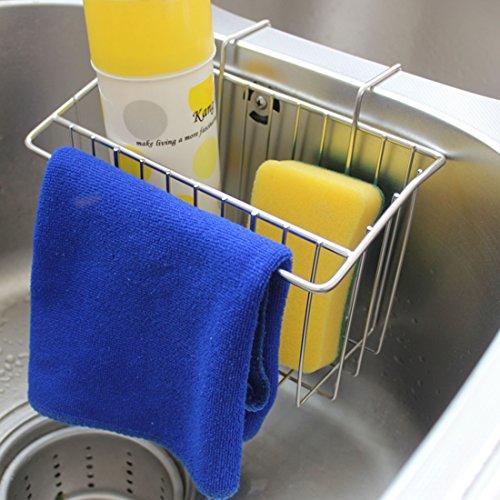 Kitchen Sink Caddy Peleustech Stainless Steel Sink Hanging Storage Box Draining Kitchen Soap Sponge Holder Rack Brush Sponge Sink Draining Towel Rack Kitchen Tool - Silver