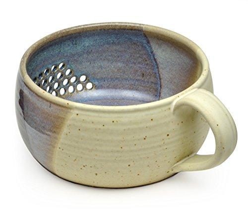 GW Pottery Handmade Stoneware Berry BowlColander Blue-White
