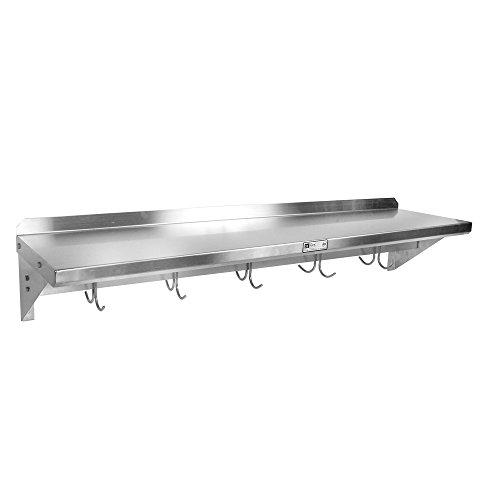 John Boos 18 Gauge Stainless Steel Wall Shelf with Pot Rack 36 x 12 inch -- 1 each