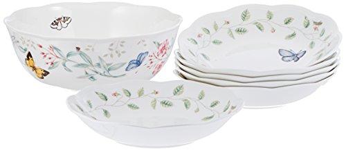 Lenox Butterfly Meadow 7 Piece PastaSalad Set White Dinnerware