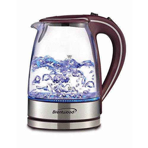 Brand NEW Brentwood Appliances KT-1900PR Tempered Glass Tea Kettles 17-Liter Purple