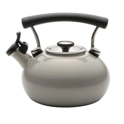 Circulon Contempo 2-Qt Enamel Whistling TeakettleWarm Silver by Circulon