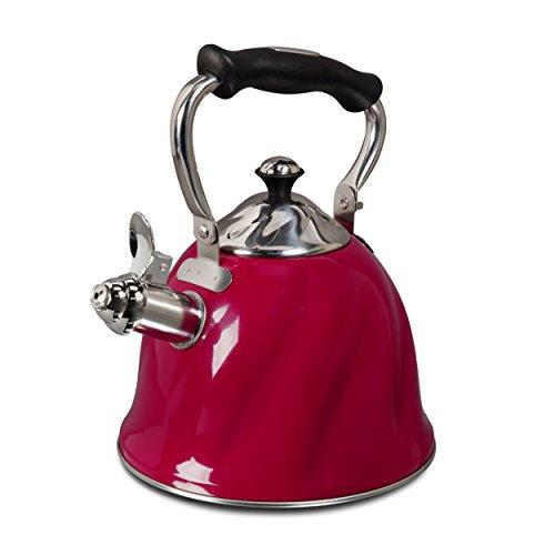 Gibson Alderton 23 quart Whistling Tea Kettle Red