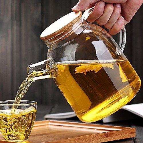 Dealglad18L High Capacity Heat Resistant Filter Strainer Bamboo Lid Glass Kettle Water Jug Coffeepot Flower Teapot