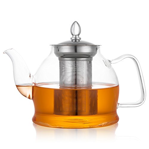 Hiware Glass Teapot with Removable Infuser Stovetop Safe 1000 ml Blooming and Loose Leaf Tea Pot