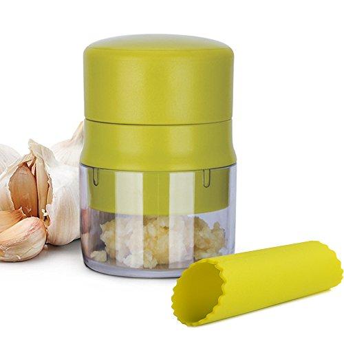BlessedLand Garlic PressGarlic MincerGarlic Chopper with Storage Container for GarlicGinger and Walnut Green
