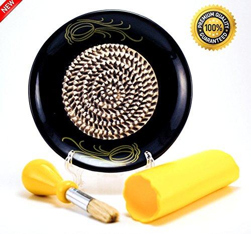 All-in-one Ceramic Garlic Grater set by- CA primeproducts - Black Garlic design with Garlic Peeler Kitchen Brush and BONUS Display Stand
