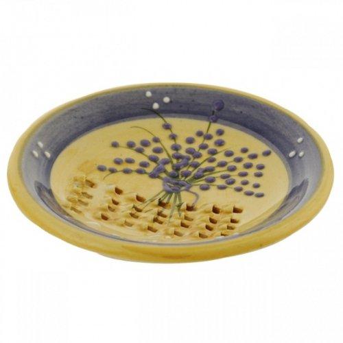 Ceramic French Garlic Grater Plate - Lavender Bunch Design