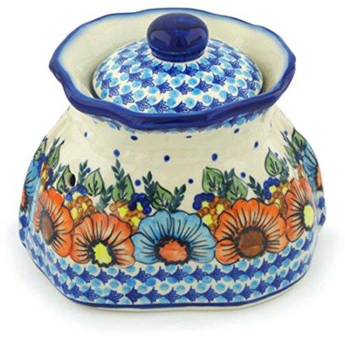 Ceramika Bona H1276H Polish Pottery Ceramic Garlic and Onion Jar Hand Painted 9-Inch