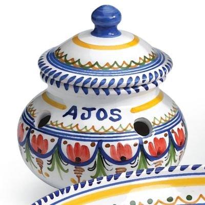 El Puente del Arzobispo Hand Painted Ceramic Garlic Storage Jar 6 inches wide x 5 inches tall