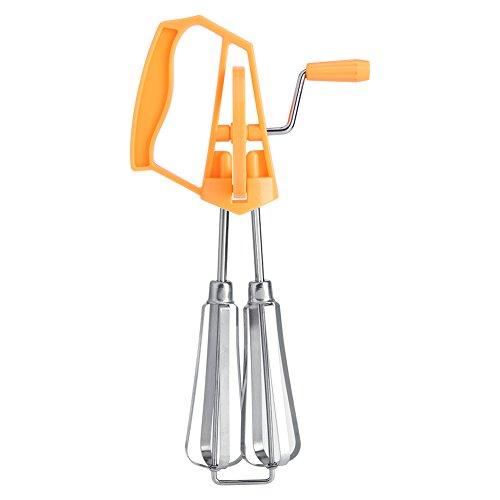Handheld Egg Beater Stainless Steel Rotary Hand Whip Whisk Egg Beater Mixer for Kitchen Egg Wire Whisk Baking ToolsOrange
