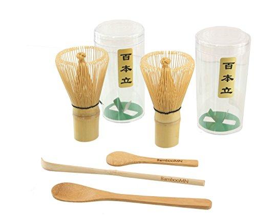 2x BambooMN Brand - Chasen Green Tea Whisk  Small Scoop  Chashaku for preparing Matcha  Tea Spoon