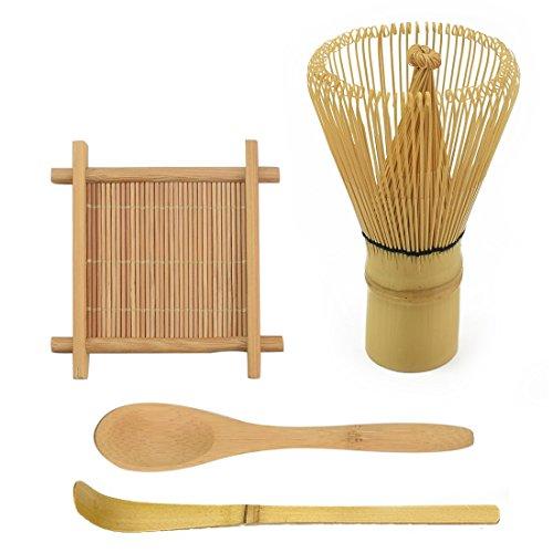 IEBIYO Matcha Whisk Set Includes Tea Whisk Traditional Scoop Teaspoon Large Tray - Japanese Green Tea Whisk All Natural Bamboo Chasen Matcha Tea Gift Full Set