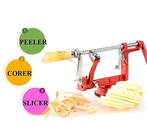 Enshey 3 in 1 Apple Peeler - Corer - Slicer Machine Stainless Steel Apple Slinky Potato Peeler Fruit Cutter Slicer Apple Peeling Machine Potatoes and Pears Spiral Slicer with Vacuum Base Red
