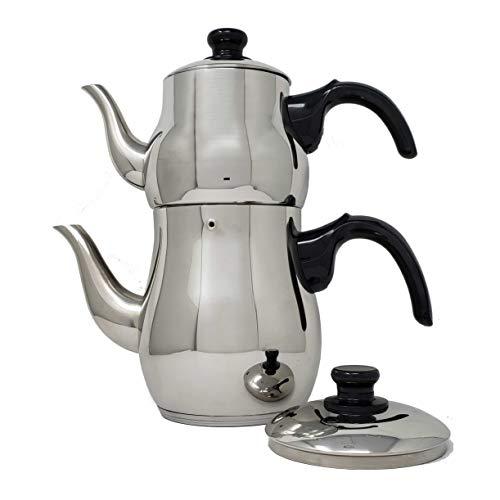 Turkish Samovar Style Stainless Steel Double Handle Teapot Tea Maker Kettle 11 L 25 L Capacity