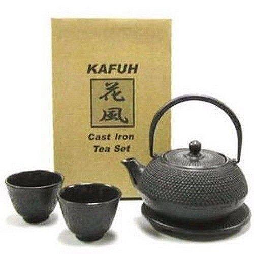 Happy Sales HSCT-ABK01 Cast Iron Tea Pot Tea Set Black ARR w Trivet