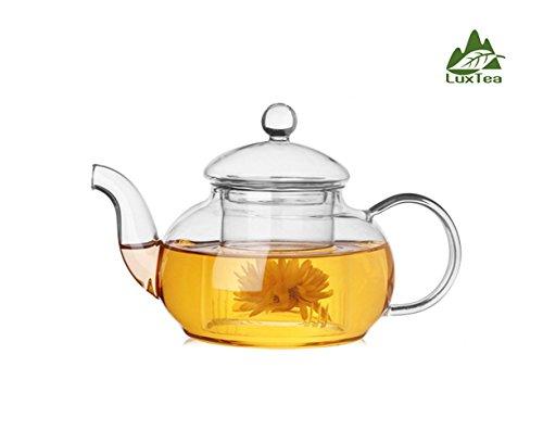 Luxtea 600ml  21oz Borosilicate Teapot Scented Tea Infuser Heat Resistant Teapot Set For Tea Display Scented Tea etc
