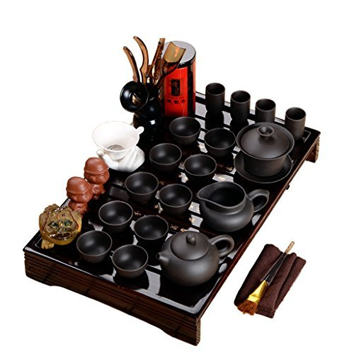 Wood Tea Tray Ceramic Kung Fu Tea Set Tea Service Dark-red Enameled Pottery Teapot Black Tea Sets