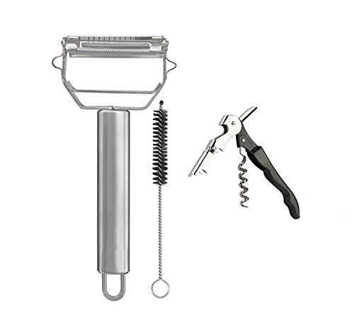 Vegetable Peeler Premium Ultra Sharp Stainless Steel Julienne Peeler with Cleaning Brush  1 pack  1 Corkscrew