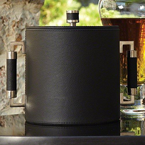 Black Leather Silver Mid Century Modern Ice Bucket Set  Chiller Tongs Lid Wine
