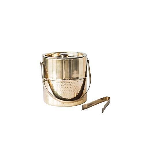 Bloomingville Stainless Steel Ice Bucket with Tongs Metallic