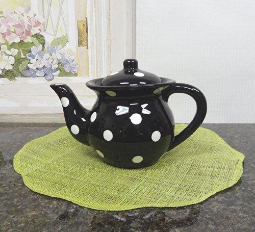 Black Teapot wWhite Dots 8-12H