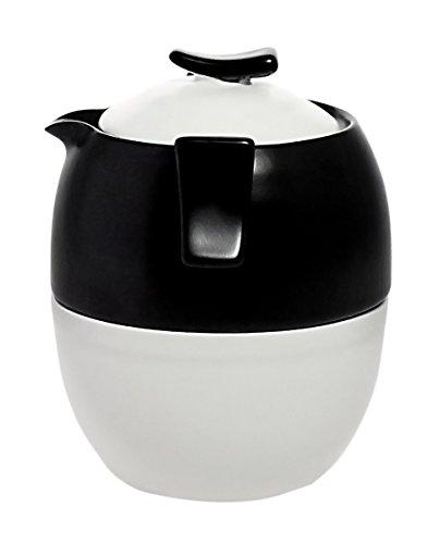 JustNile Tea-For-Three Stackable Zen Porcelain Teapot with 3 Cups Set - Black Teapot Set