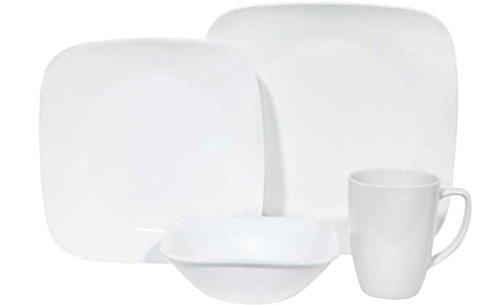 Corelle Square 32-Piece Dinnerware Set Pure White Service for 8