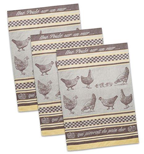 DII Cotton French Jacquard Dish Towels 20x28 Set of 3 Decorative Tea Towels for Everyday Kitchen Cooking and Baking-Une Poule Sur Un Mur