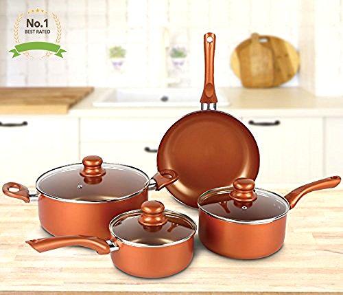 1 Copper Cookware Set 7-piece Nonstick Ceramic Coating PTFE PFOA Free Aluminum Pots and Pan Set