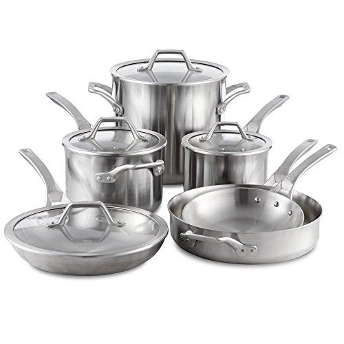 Calphalon Signature 10 Piece SetStainless Steel Cookware Silver