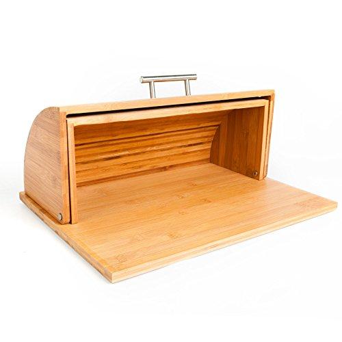 Bread Box Quality Roll Top Bamboo Breadbox w Built in Cutting Board